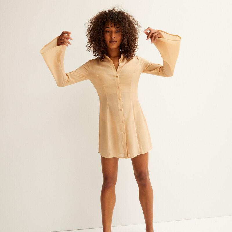 robe chemise cintrée en satin - beige;