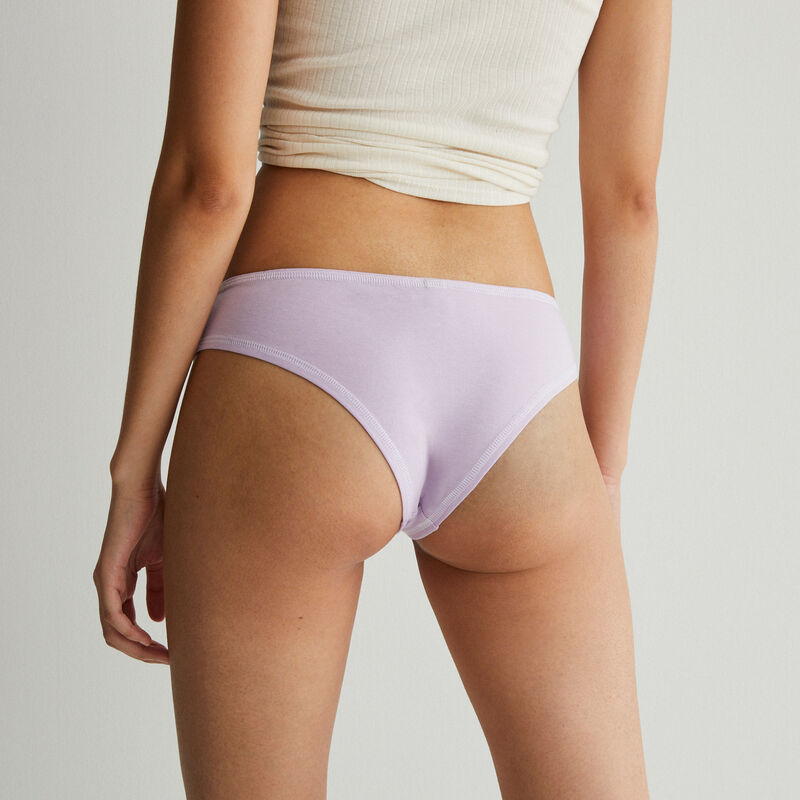 shorty coton coutures blanches apparentes - lilas;