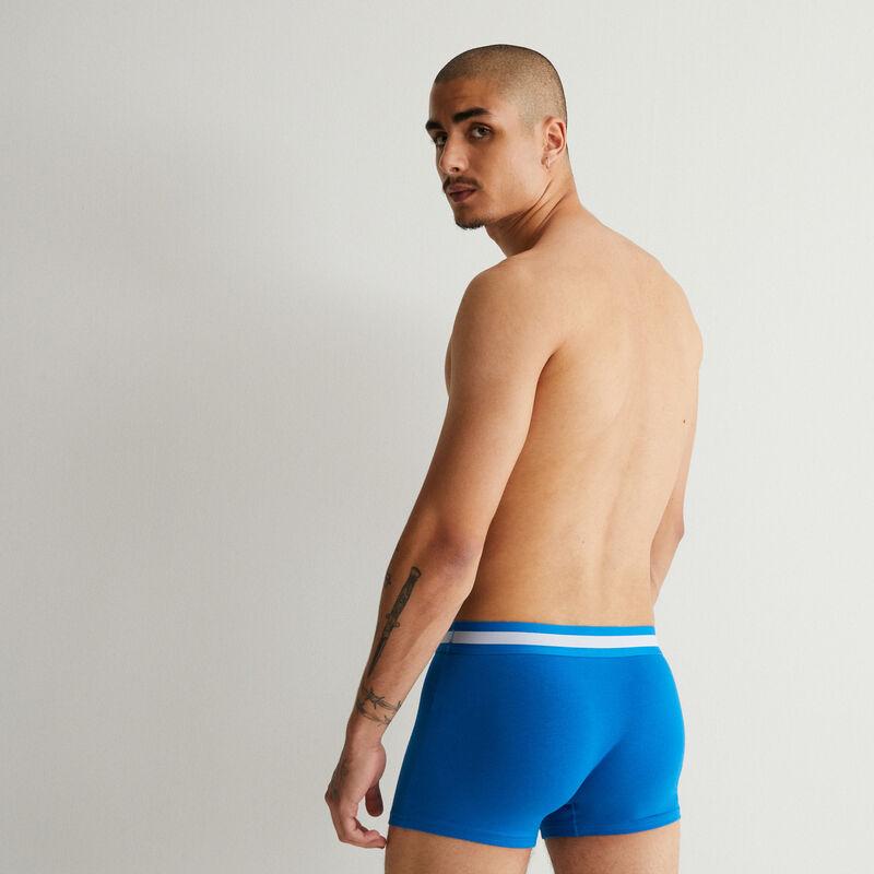 boxer en coton bio - bleu;