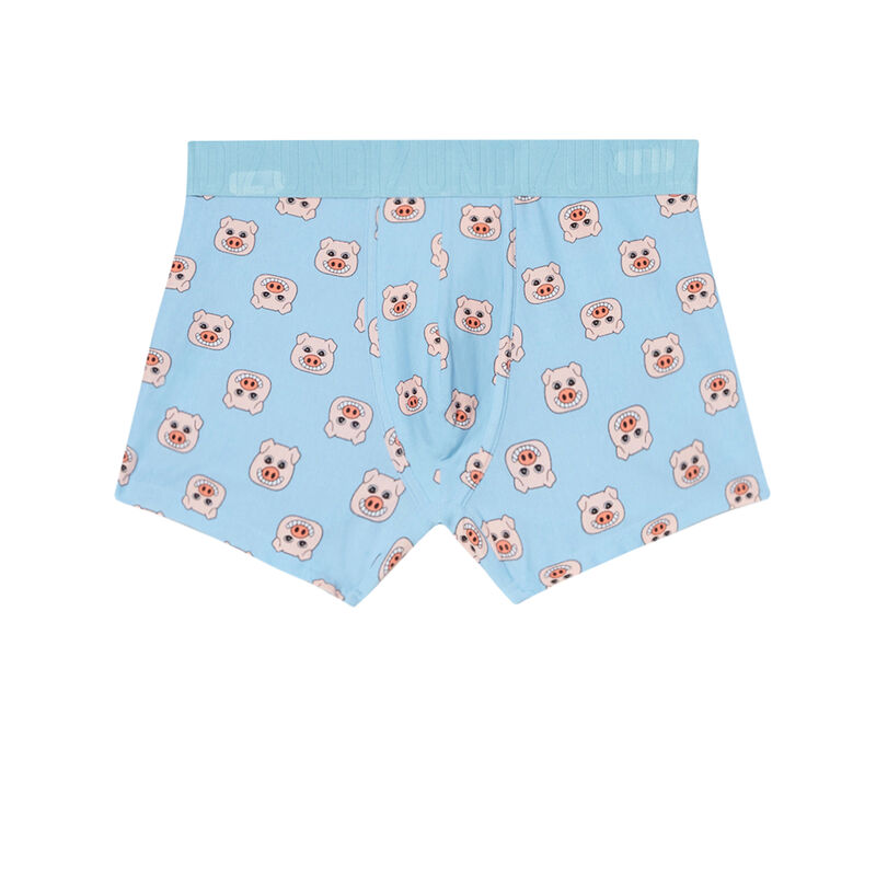 boxer à motifs cochons - bleu ciel;