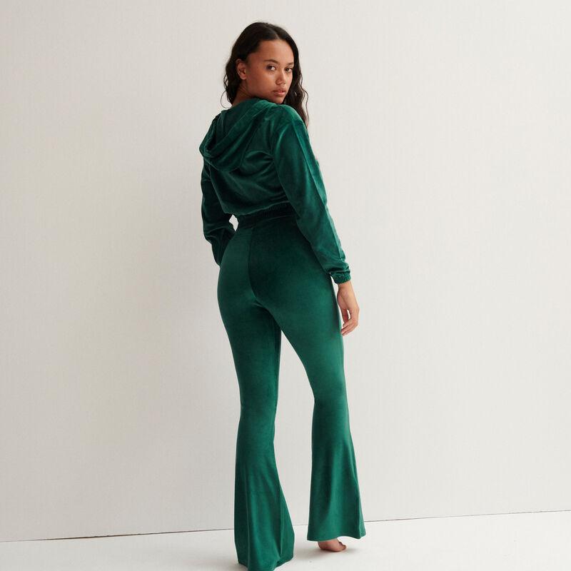 pantalon taille haute pattes def en velours - sapin;