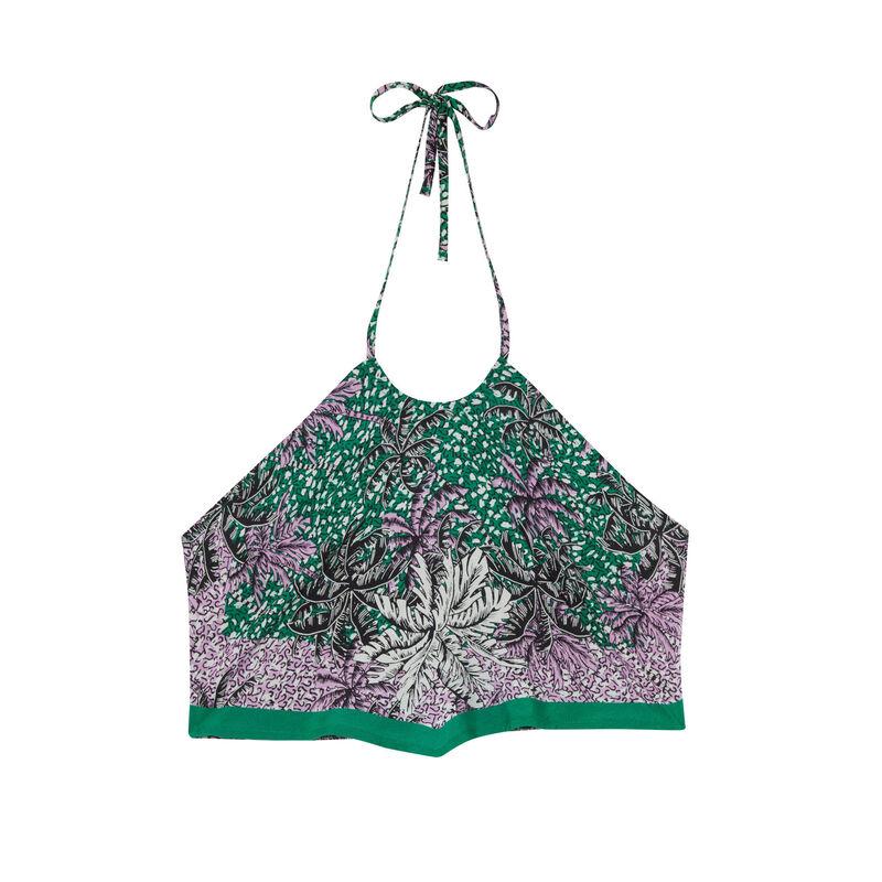 top dos nu effet foulard à motifs palmier - vert;