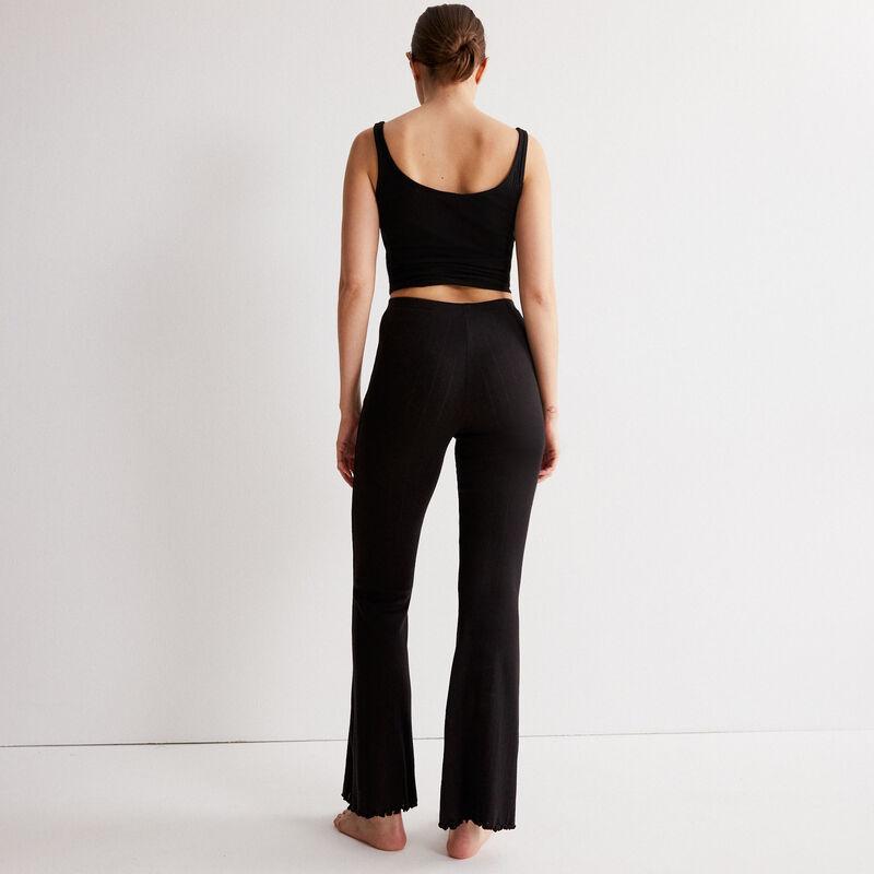 pantalon flare maille pointelle - noir;