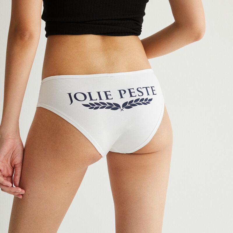 """shorty à message """"jolie peste"""" - blanc;"""