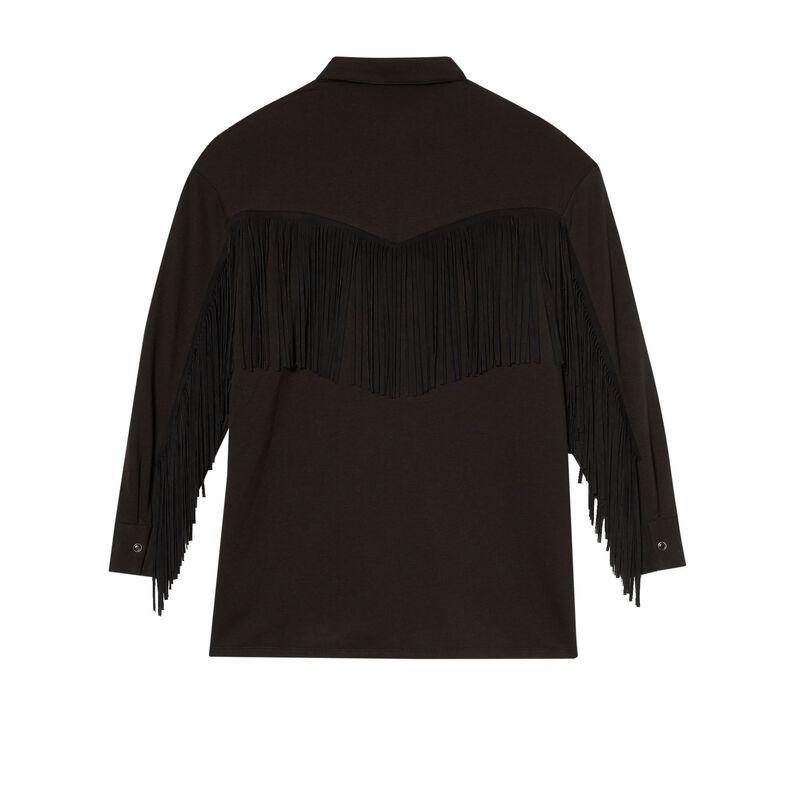 chemise à franges - noir;