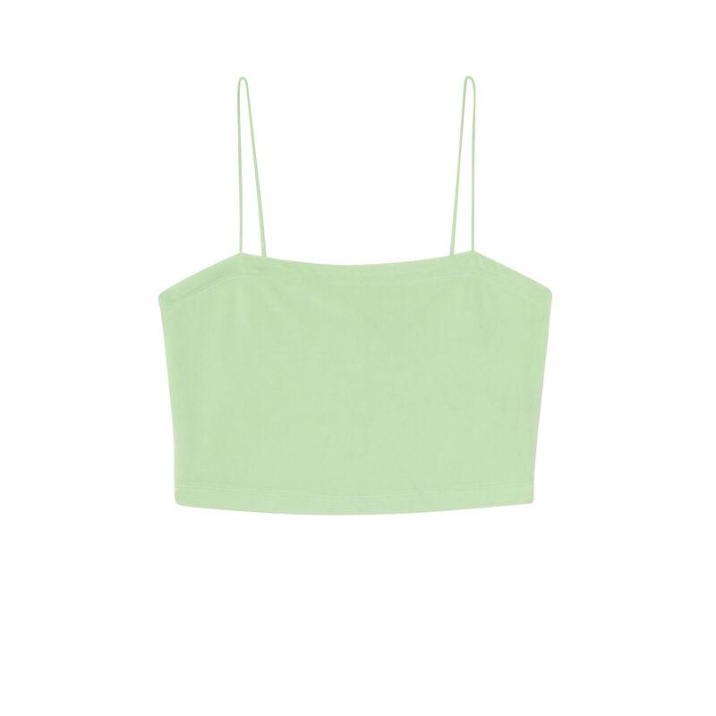 top en velours à fines bretelles - vert ;