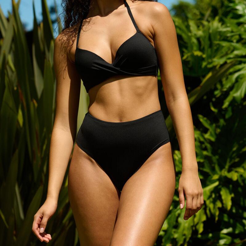Bas de maillot de bain culotte taille haute - noir;