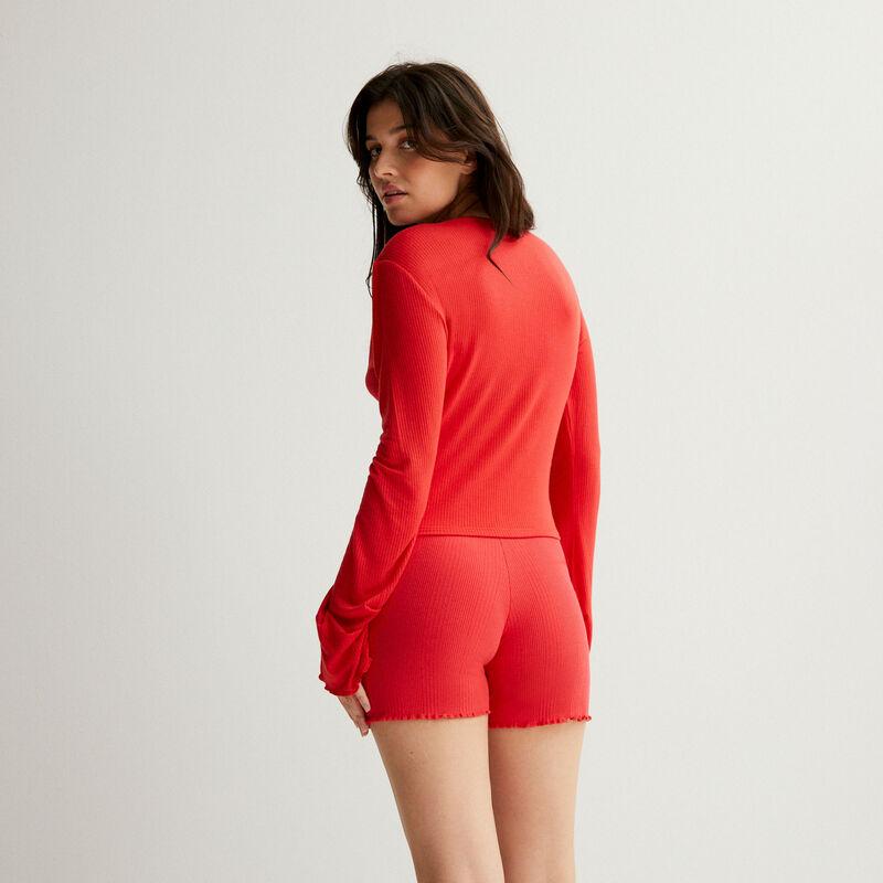 short côtelé en jersey - rouge;