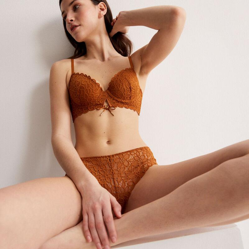 soutien-gorge ampli en dentelle fleurie détail noeud - marron;