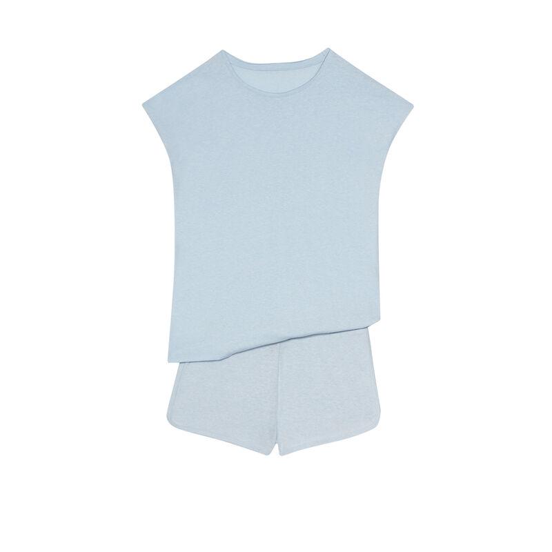 set de pyjama uni - bleu;