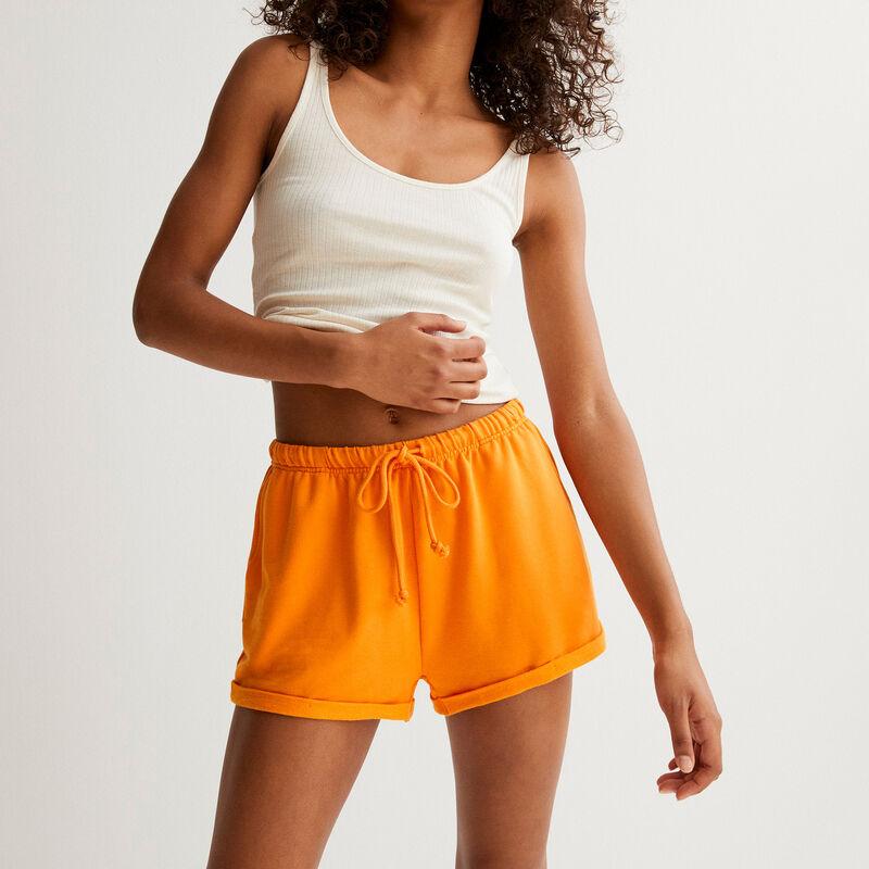 short uni à détail cordon - orange;