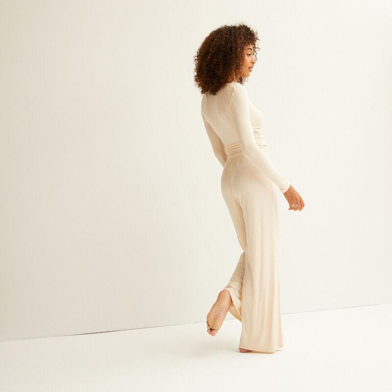 pantalon évasé en maille - crème;