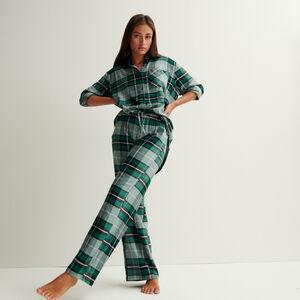 pantalon à carreaux large taille froncée et nouée - sapin