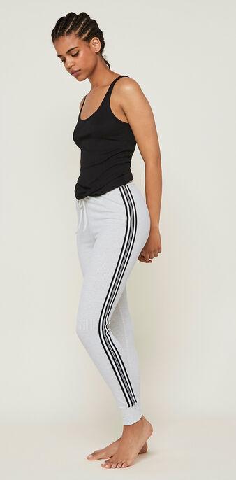 Pantalon jogging bandes laterales newazjiz gris blanc.