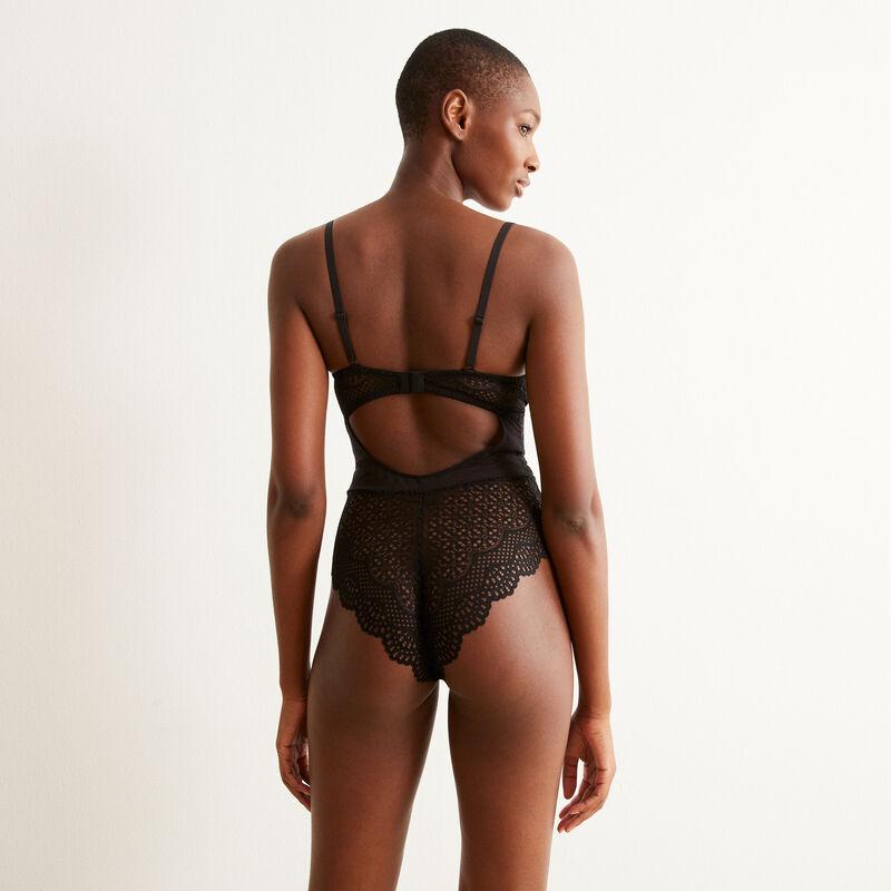 body push-up en dentelle avec liens - noir ;