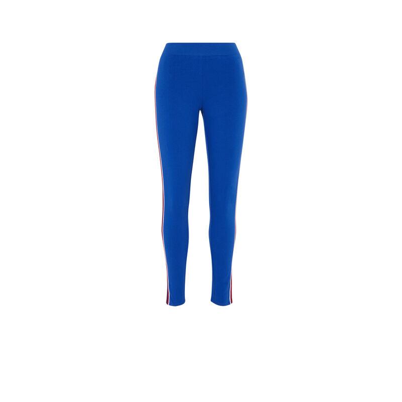 Legging à bandes - bleu;
