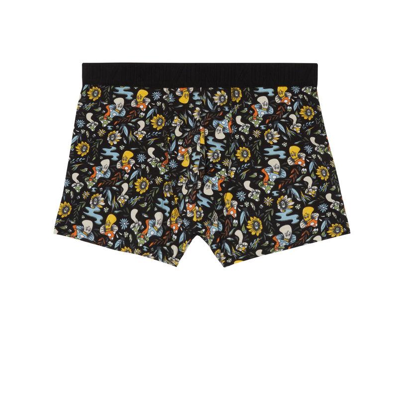 boxer à motifs fleurs et champignons - noir;