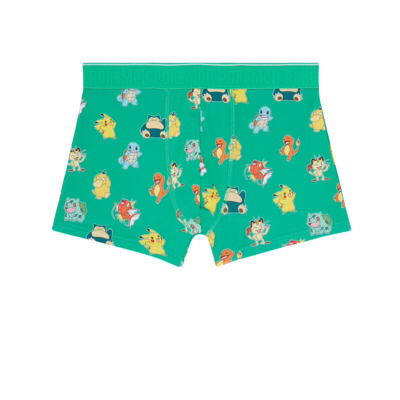boxer à motifs Pokémon - vert;