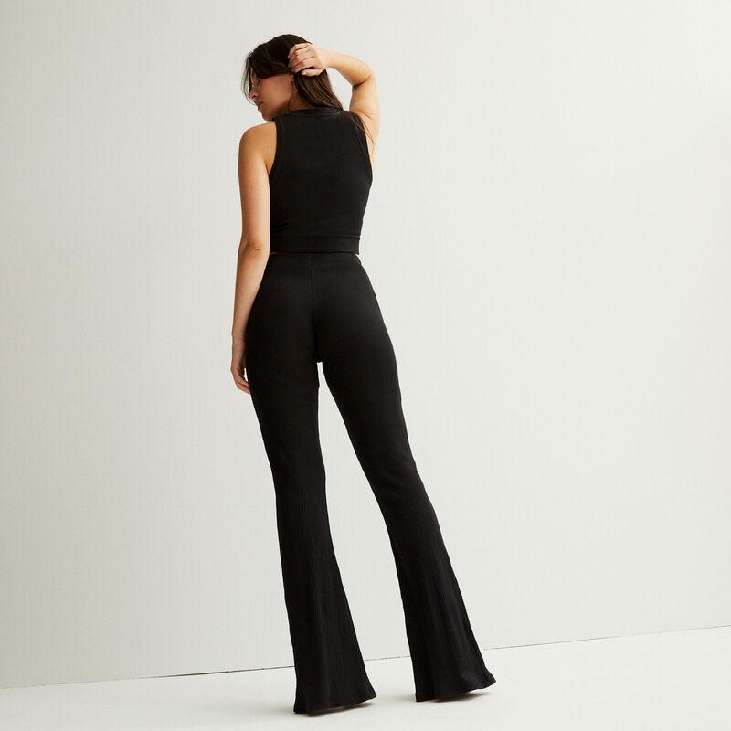pantalon fendu devant taille haute - noir;