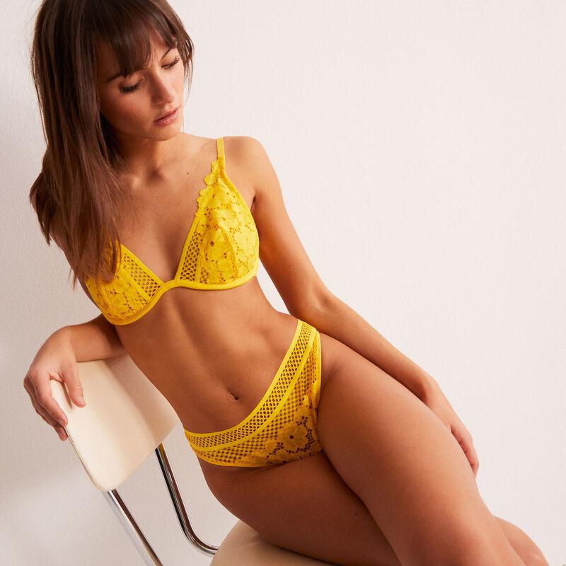soutien-gorge corbeille en dentelle fleurs et résille - jaune;