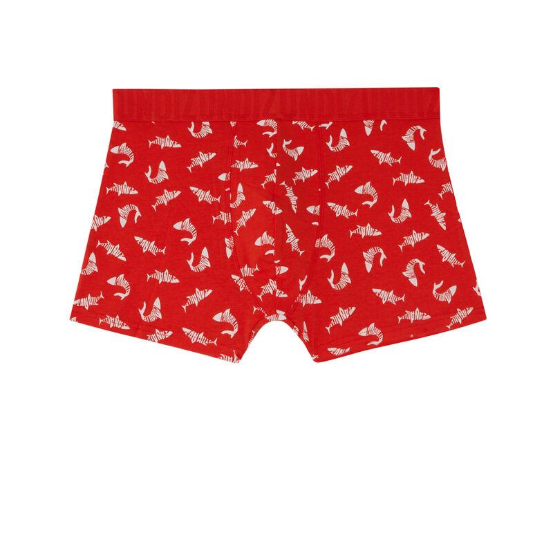 boxer à motifs requins - rouge;