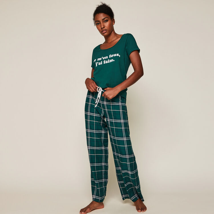 Pantalon à carreaux caromiz vert.