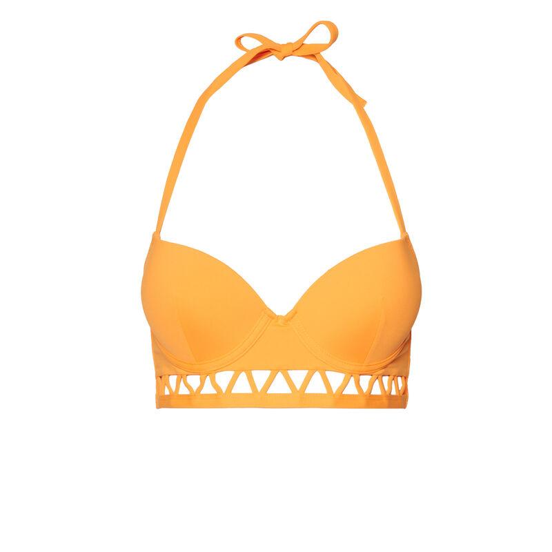 haut de maillot de bain push-up dos nu détail aztèque - orange;