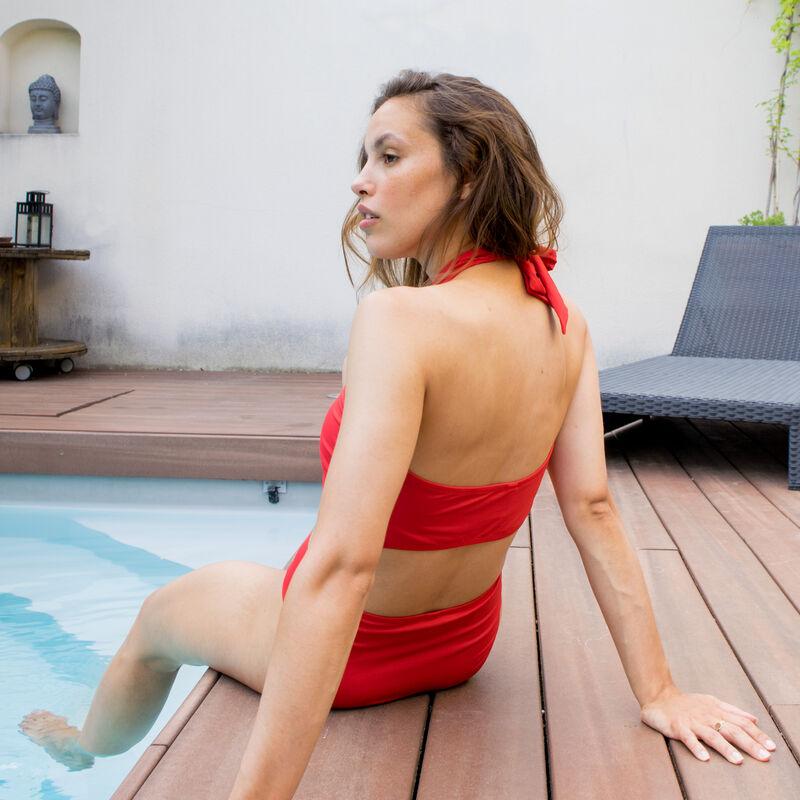 haut de maillot brassière effet foulard - rouge;