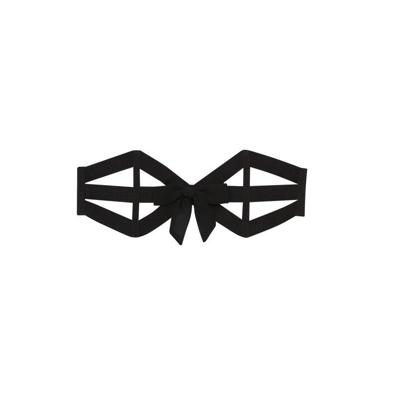 serre taille à bandes et détails nœud - noir;
