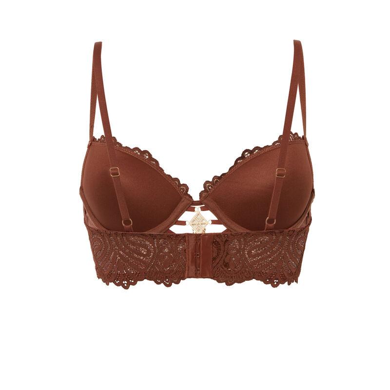 soutien-gorge ampli bustier détail bijou - marron;