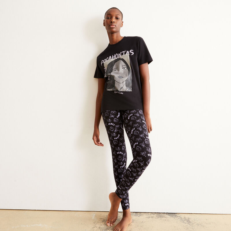 set pyjama manches courtes Pocahontas - noir;