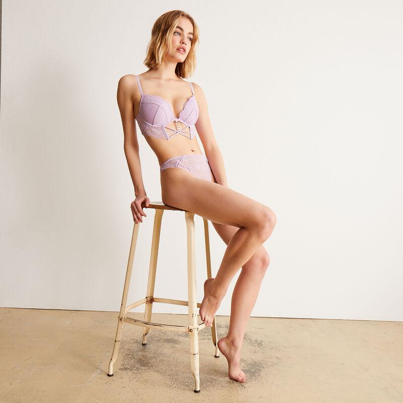 soutien-gorge ampli bustier à détail chaine dorée - lilas;