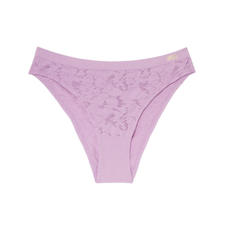 culotte taille haute effet jacquard - lilas;