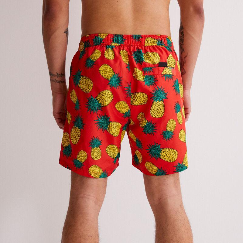 short de bain imprimé ananas - rouge;