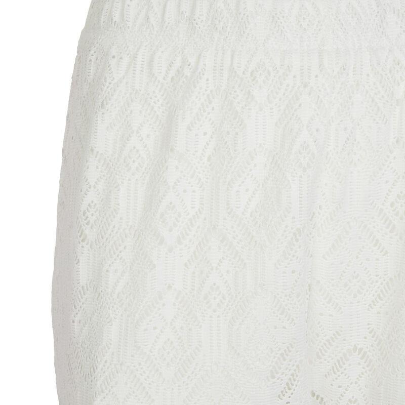 Pantalon large élastique à la taille - blanc;
