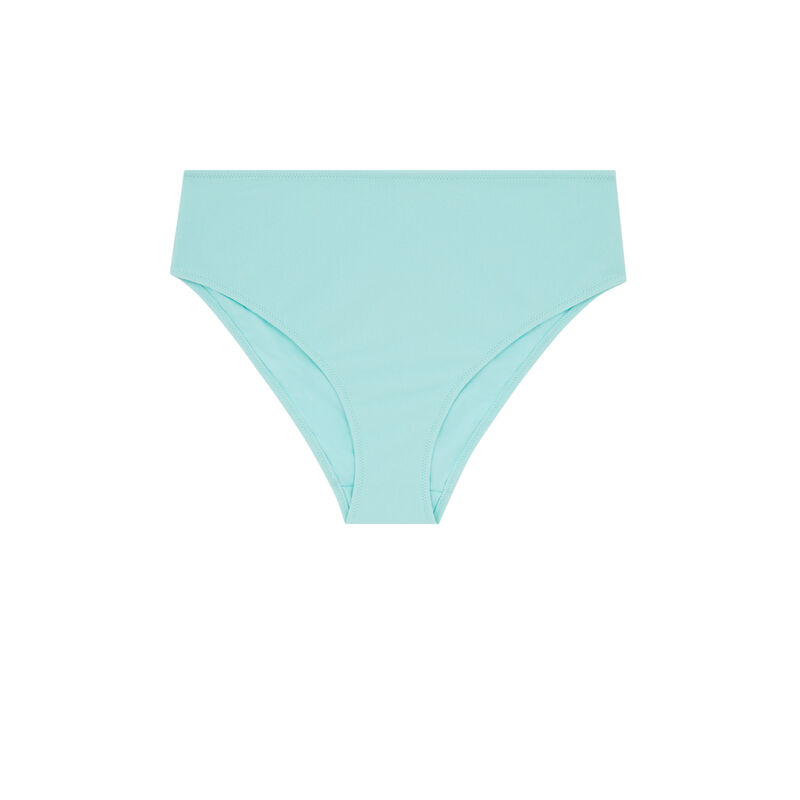 Bas de maillot de bain culotte taille haute - bleu turquoise;