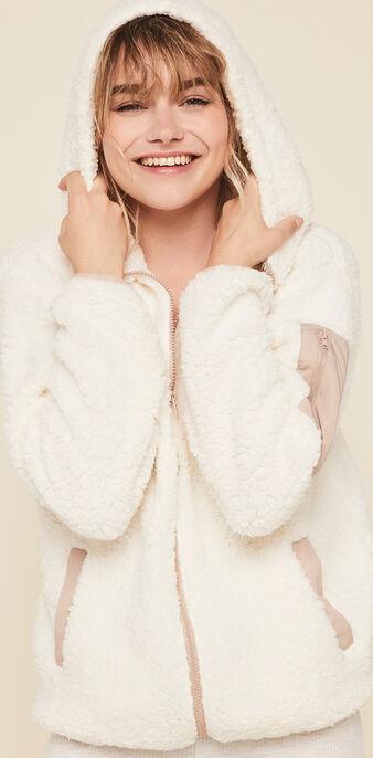 Veste polaire à capuche borgiz blanc cassé.