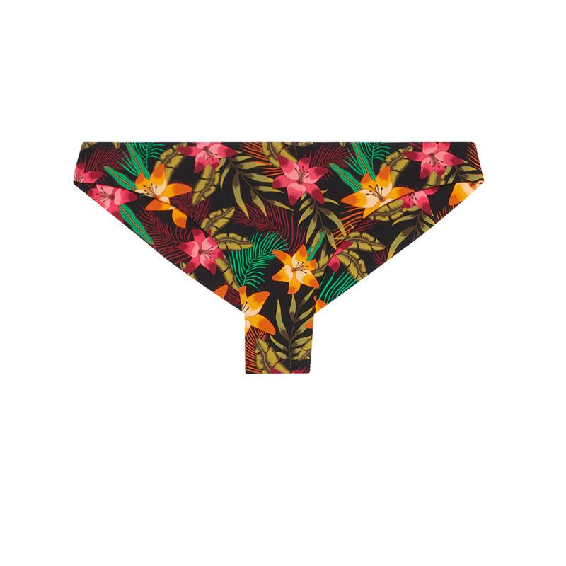 bas de maillot de bain tanga à imprimé fleurs de tiaré - noir;