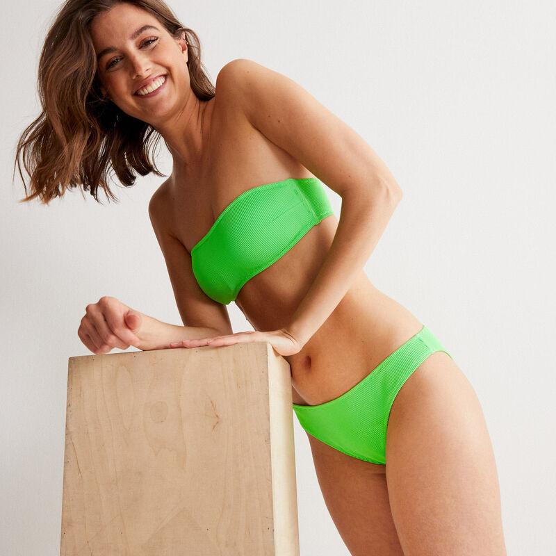 haut de maillot de bain bandeau gaufré - vert;