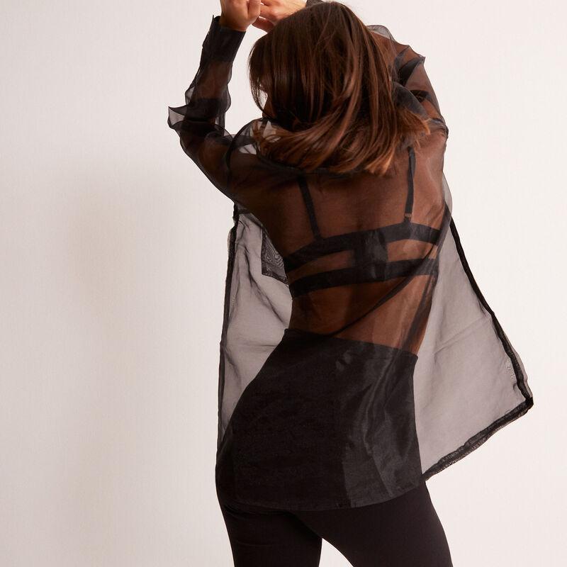 chemise longue transparente en tulle - noir;