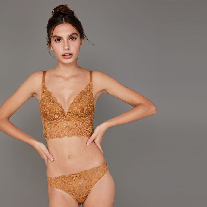 Soutien-gorge push moutarde exotiz golden brown.
