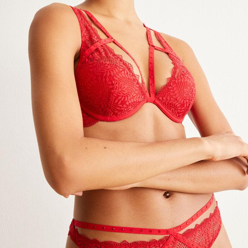 soutien-gorge push-up foulard à dentelle et liens - rouge;