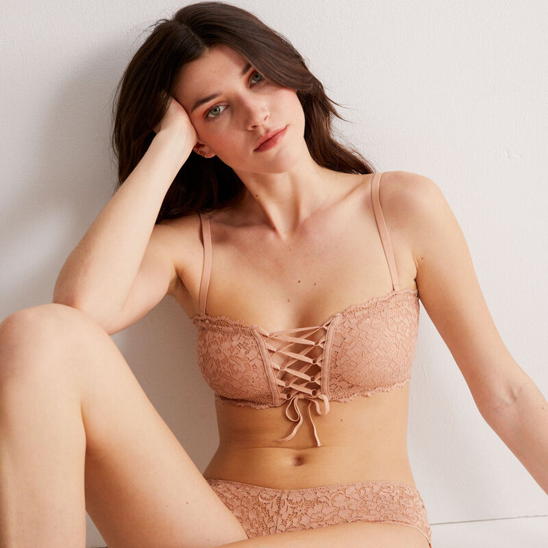 soutien-gorge bandeau sans armatures effet corset - beige nude;