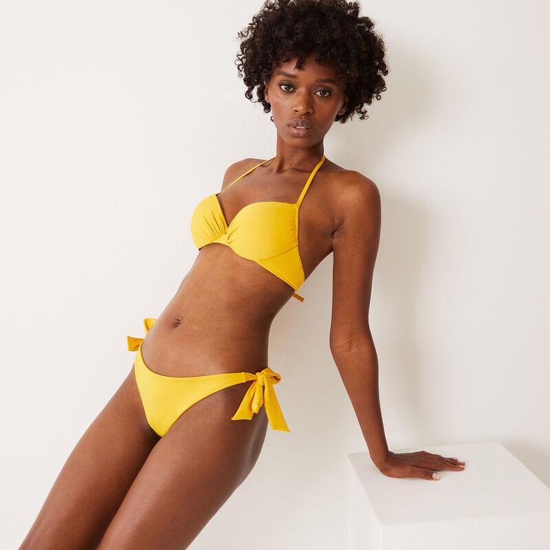 bas de maillot tanga à détail noeuds - jaune;