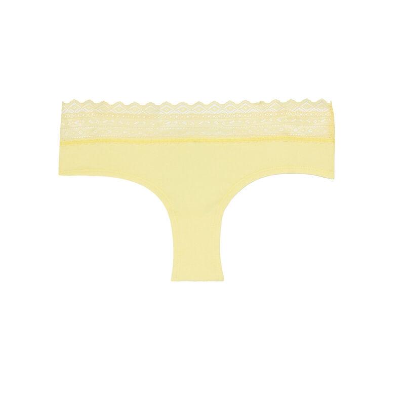 shorty en coton uni à élastique dentelle - jaune;