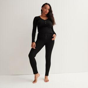 legging côtelé tacheté - noir