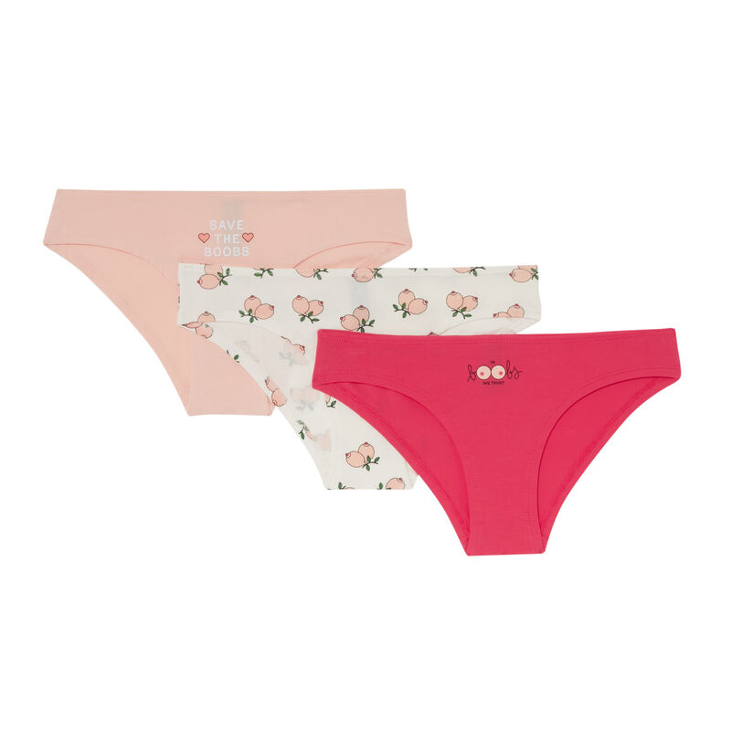 lot de 3 culottes à imprimé boobs - rose;