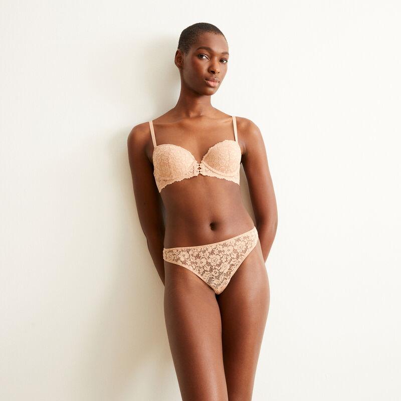 soutien-gorge push-up en dentelle fleurie - rose nude;
