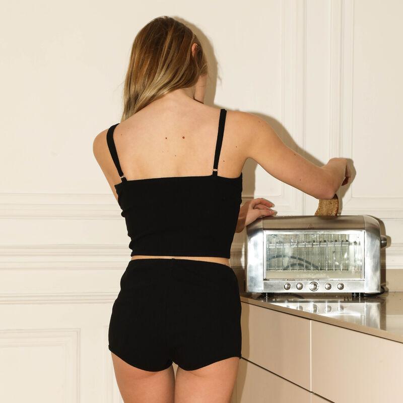 top à bretelles fines effet corset - noir;