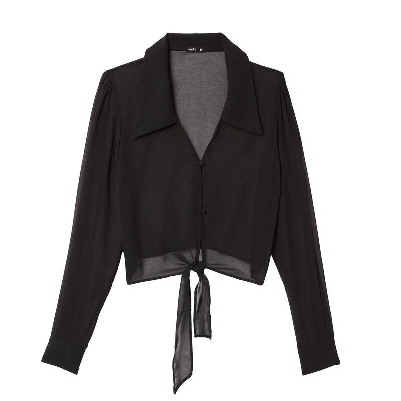 chemise crop en résille - noir ;